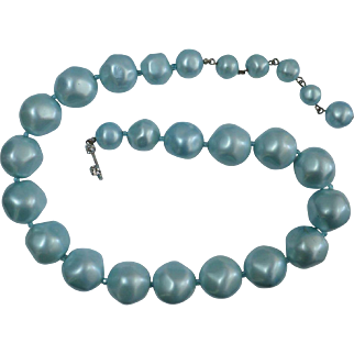 MARVELLA Baby Blue Bead Necklace