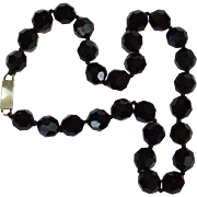 Black Glass Bead Choker Necklace