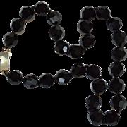 Black Glass Bead Choker Necklace