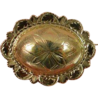 Domed Victorian Style Etched Brooch Pin