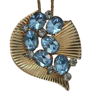 VAN DELL Faux Aquamarine Necklace/ Brooch Pin