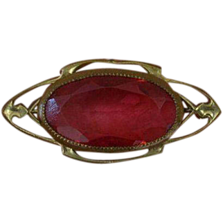 Victorian Glass Brooch Pin