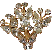 Rhinestone Flower Spray Brooch Pin