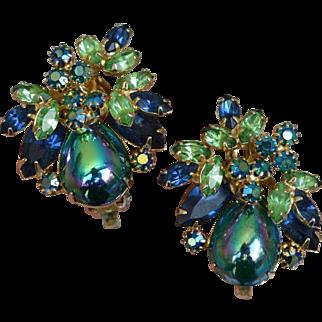 Phantasm Green and Blue Earrings