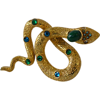Bejeweled Snake Brooch Pin