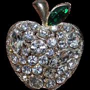 Bright Rhinestone Apple Brooch Pin