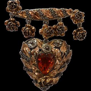 Sterling HOBE Heart Dangle Brooch Pin