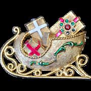 MYLU Christmas Sleigh Brooch Pin