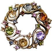 MONET Rhinestone Wreath Brooch Pin