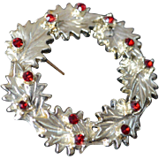 DODDS Holly Wreath Brooch Pin