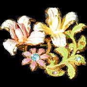 AUSTRIA Enamel Rhinestone Flower Brooch Pin
