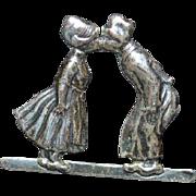 STERLING Dutch Boy and Girl Brooch Pin
