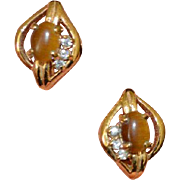 Faux Tiger's Eye 14K GF Vintage Earrings