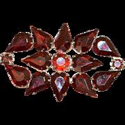 Red Rhinestone Vintage Brooch Pin