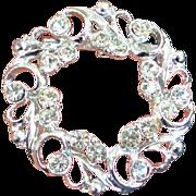 Vintage Rhinestone Wreath Brooch Pin