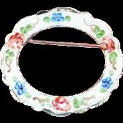 STERLING LAMODE Guilloche Rose Enamelled Brooch Pin