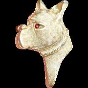 BOXER DOG Red Rhinestone Brooch Pin