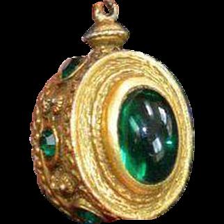 Maharaja Style Faux Emerald Pendant
