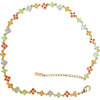 NAPIER Rhinestone Squares and Clovers Necklace