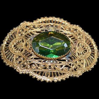 Olivine Rhinestone Brooch Pin