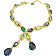 Etruscan Style Mesh and Large Rhinestone Necklace
