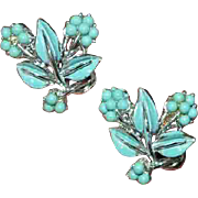 CORO Faux Turquoise and Enamel Earrings