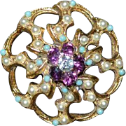 Faux Turquoise, Seed Pearl and Amethyst Swirl Brooch Pin