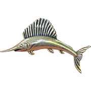 STERLING Swordfish Brooch Pin