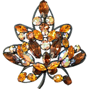 REGENCY Faux Topaz Rhinestone Flower Brooch Pin