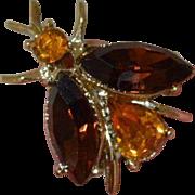 DODDS Faux Topaz Rhinestone Bee Brooch Pin