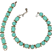 TRIFARI Turquoise Blue Necklace and Bracelet Retro Set