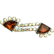 Deco Style Vintage Rhinestone Brooch Pin