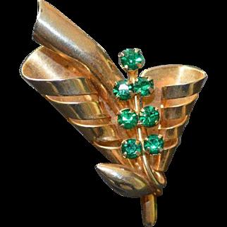 Retro Vintage Green Rhinestone Brooch Pin