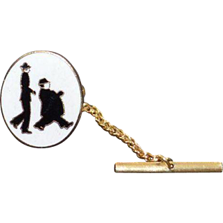 Vintage Laurel and Hardy Tie Tack