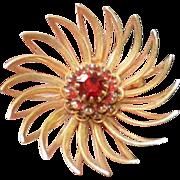 Red Rhinestone Sarah Coventry Brooch Pin