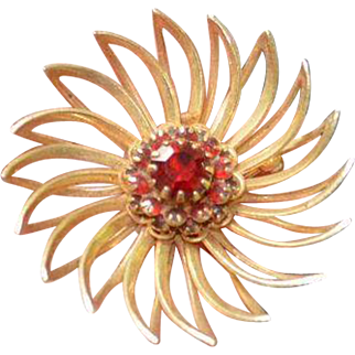 Red Rhinestone Sarah Coventry Brooch Pin