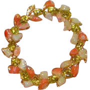 Pink and Green Wreath Brooch Pin