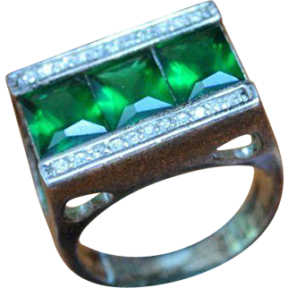 Deco Style STERLING Silver Green Baguette Ring