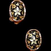 Petite Vintage Damascene Earrings