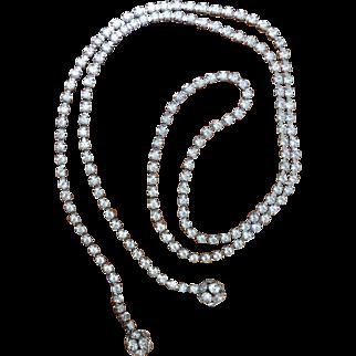 Vintage Long Rhinestone Necklace Chain