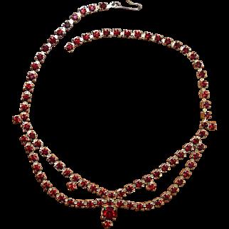 Vintage Rhinestone Festoon Choker Necklace