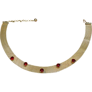Vintage Faux Ruby Choker Necklace