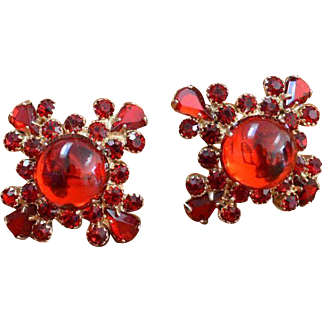 Red Rhinestone Cross Earrings