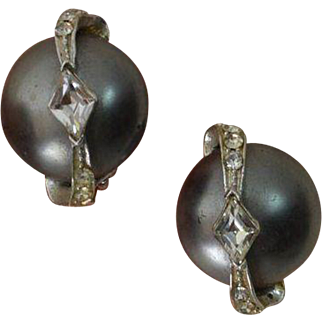 Faux Mabe Tahitian Pearl and Rhinestone Earrings