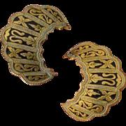 Damascene Style Crescent Earrings