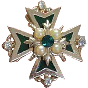 CORO Maltese Cross Brooch Pin