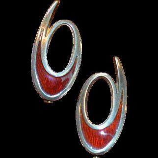 Vintage David Andersen Sterling Enamel Earrings