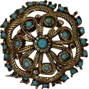 Faux Turquoise Vintage Brooch Pin