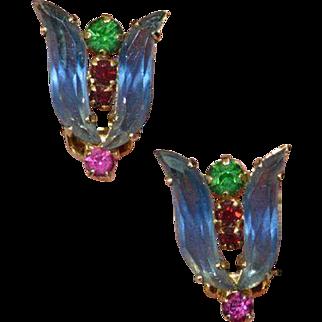AUSTRIA Glass and Rhinestone Moghul-Style Earrings