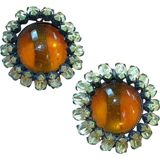 Faux Amber Cabochon Earrings